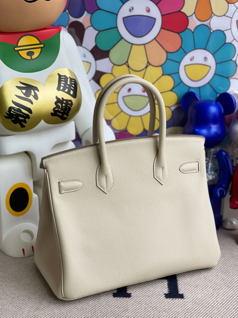 Hermès(爱马仕)Birkin 铂金包 原厂小牛皮 Togo ck10 奶昔白 Craie 金扣 30cm 顶级手缝