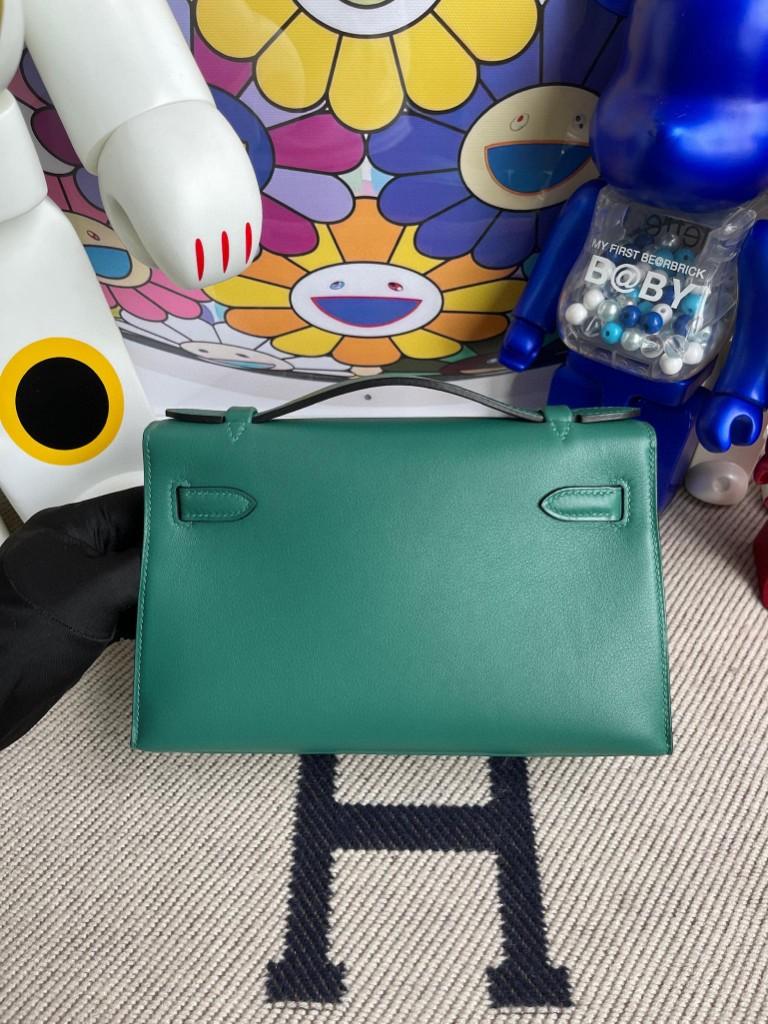 Hermès(爱马仕)Mini kelly pochette Swift Z6 孔雀绿 malachite 金扣 22cm 手拿包 晚宴包