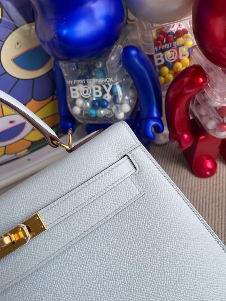 Hermès(爱马仕)Kelly 凯莉包 Epsom 原厂掌纹皮 T0 雾蓝色 金扣 25cm 顶级手缝