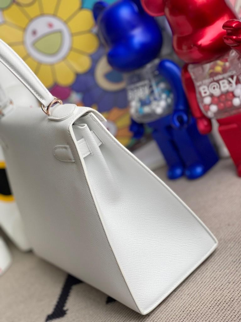 Hermès(爱马仕)Kelly 凯莉包 Epsom 原厂掌纹皮 01 纯白 White 白雪公主 玫瑰金扣 rose gold 28cm 顶级手缝