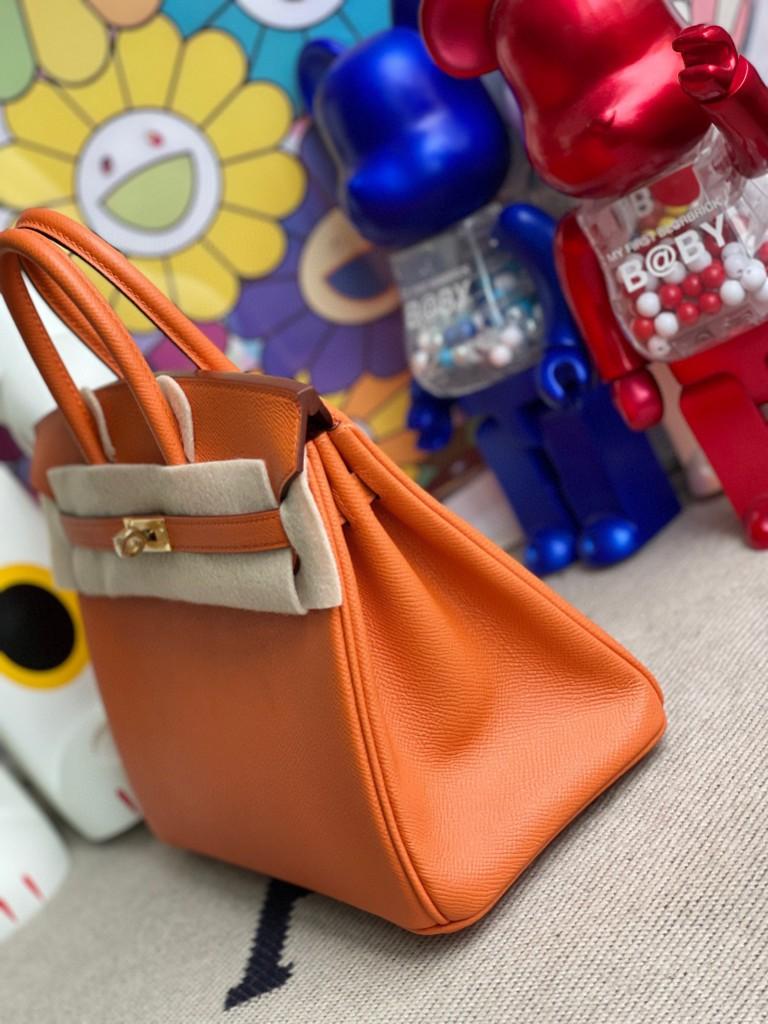 Hermès(爱马仕)Birkin 铂金包 epsom 原厂掌纹皮 93 橙色 Orange 金扣 25cm 顶级手缝