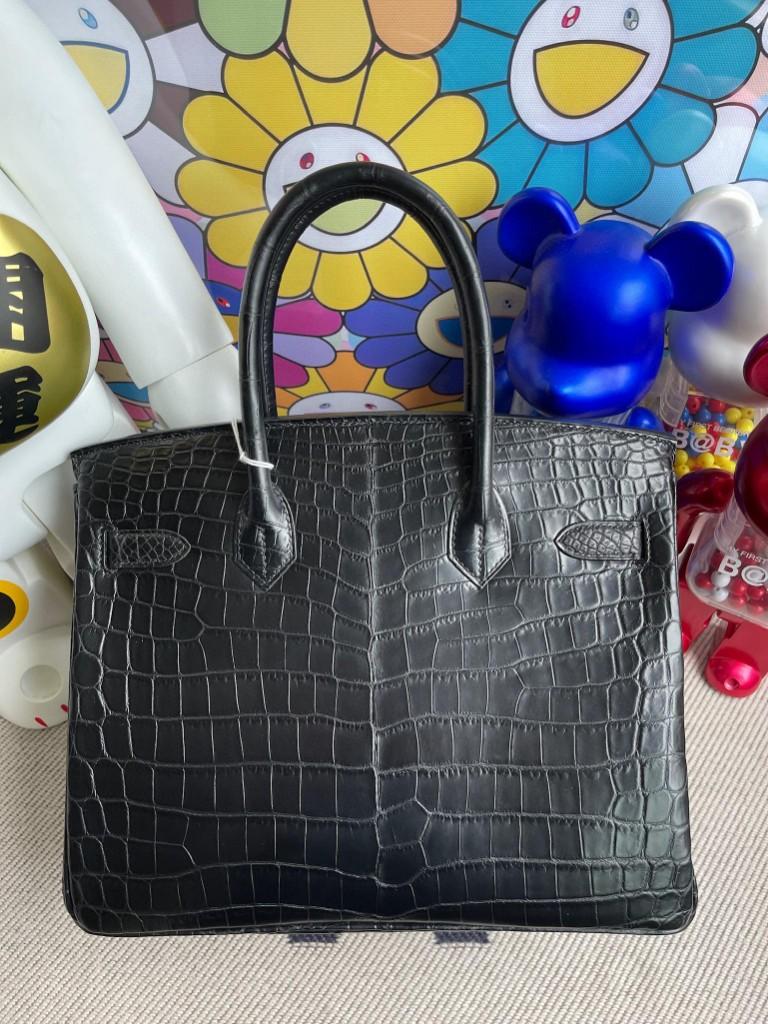 Hermès(爱马仕)Birkin 铂金包 Crocodile matt 雾面鳄鱼 ck89 黑色 Noir 银扣 30cm 顶级手缝