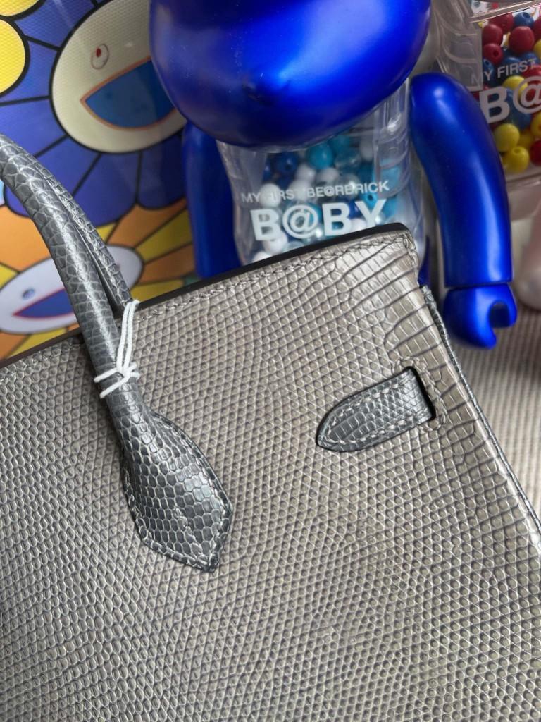 Hermès(爱马仕)Birkin 铂金包 Lizard 进口亮面蜥蜴 斑鸠灰 拼 锡器灰 银扣 25cm 顶级手缝