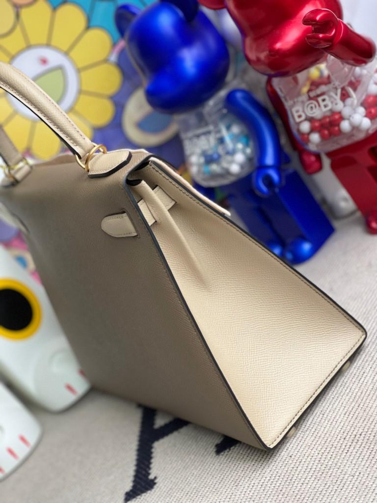 Hermès(爱马仕)Kelly 凯莉包 Epsom 原厂掌纹皮 ck18 大象灰 拼 S2 风衣灰 磨砂金扣 28cm 马蹄印
