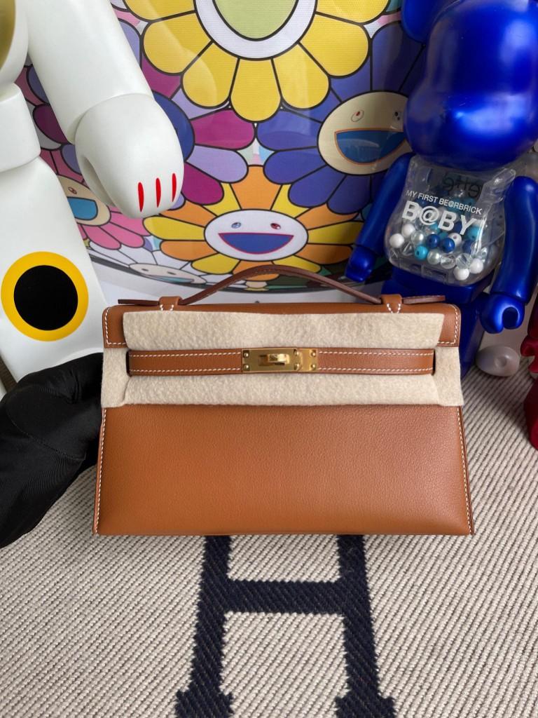 Hermès(爱马仕)Mini kelly pochette 22cm Swift ck37 金棕色 gold 金扣 手拿包 晚宴包