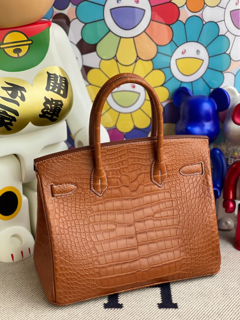 Hermès(爱马仕)Birkin 铂金包 Alligator matt 雾面鳄鱼 马鞍棕色 金扣 30cm 顶级手缝