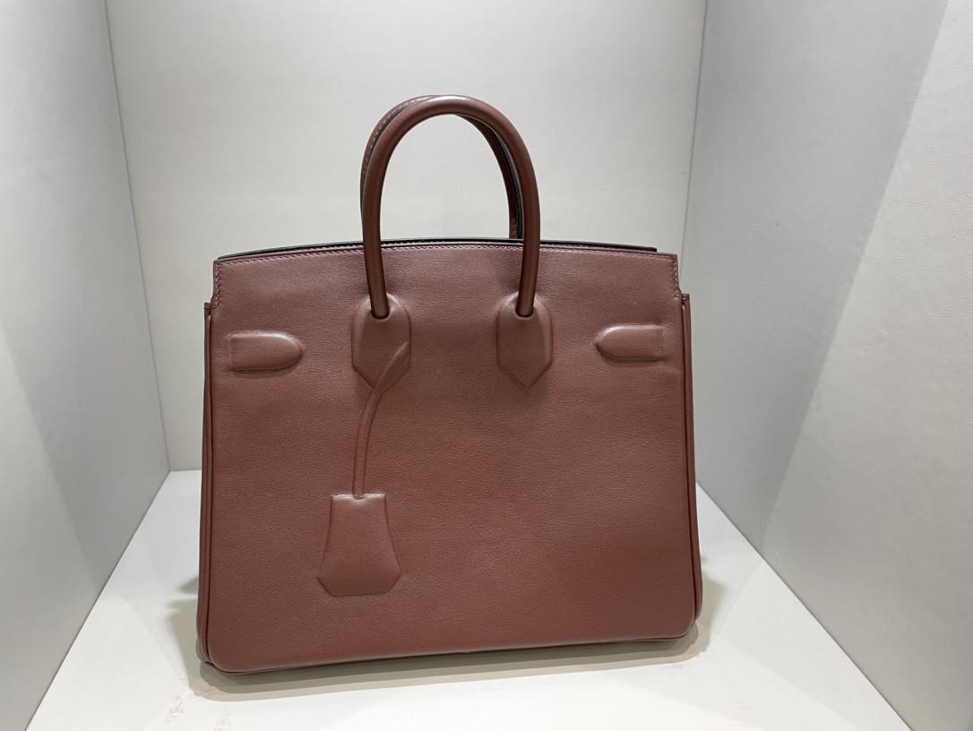 Hermès(爱马仕)Birkin Shadow 幻影 马鞍红 rouge sellier 25cm 凹凸有致的影子设计