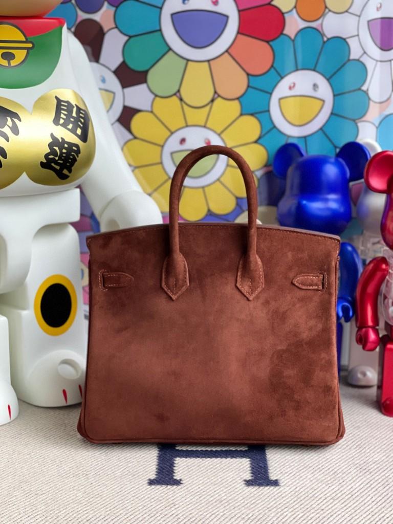 Hermès(爱马仕)Birkin 铂金包 麂皮 乌木色 金扣 25cm 顶级手缝