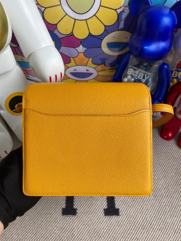 Hermès(爱马仕)Roulis 猪鼻包 Evecolor 9V 太阳黄 金扣 18cm 顶级手缝
