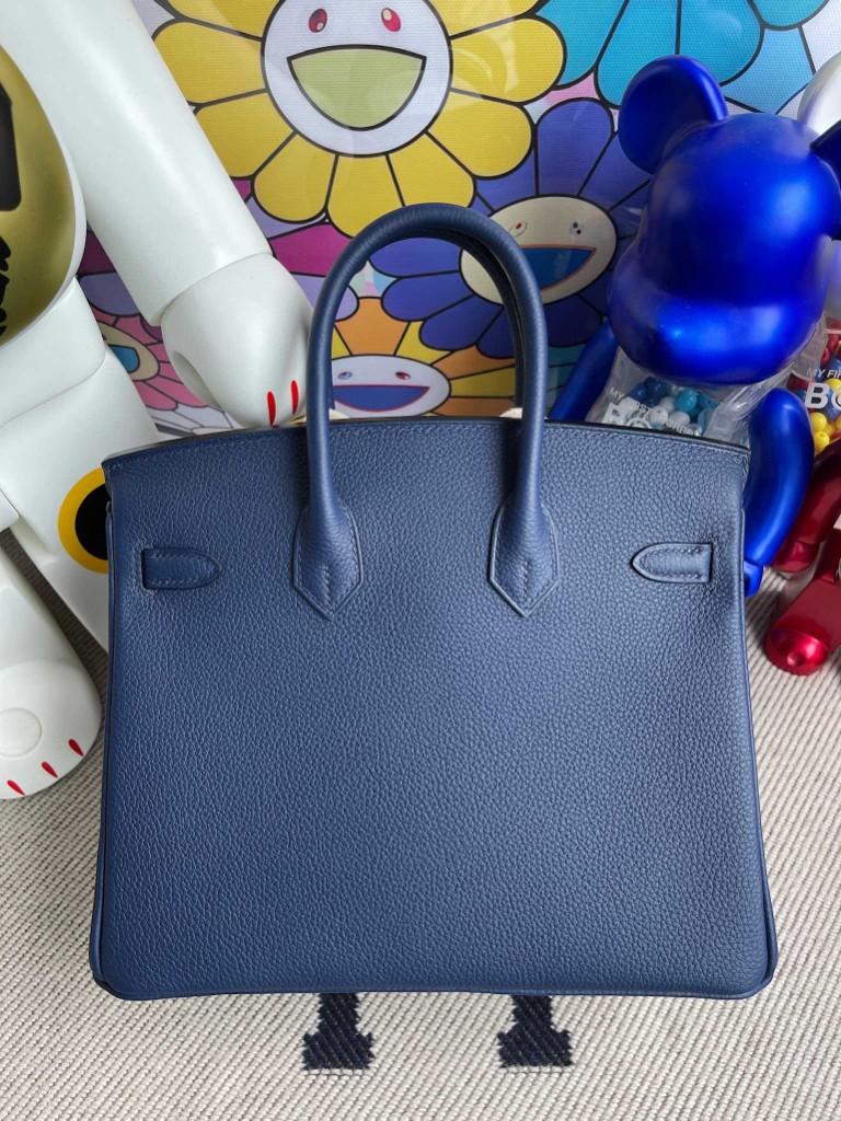 Hermès(爱马仕)Birkin 铂金包 原厂小牛皮togo 宝石蓝 银扣 25cm 顶级手缝