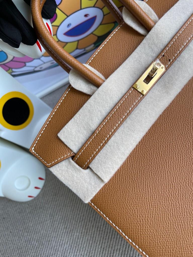 Hermès(爱马仕)Birkin 铂金包 Epsom 原厂掌纹皮 ck37 金棕色 Gold 金扣 25cm 顶级手缝