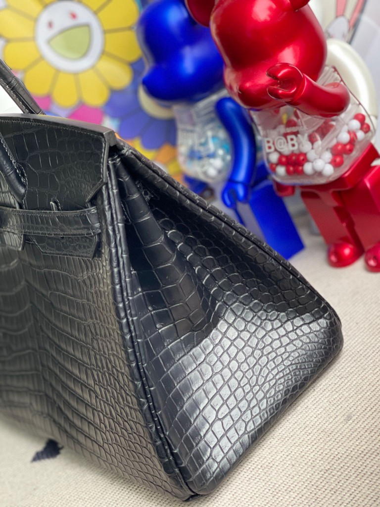 Hermès(爱马仕)Birkin 铂金包 Porosus matt 雾面湾鳄 ck89 黑色 Noir so black 35cm