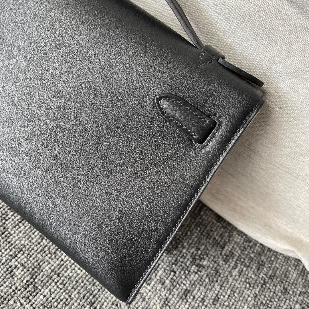 Hermès(爱马仕)Mini kelly pochette Swift ck89 黑色 Noir 银扣 22cm 顶级手缝 手拿包 晚宴包