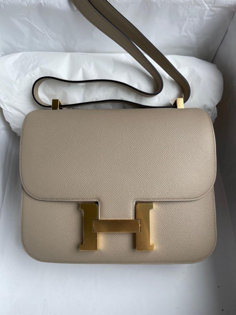 Hermès(爱马仕)Constance 空姐包 Epsom 原厂掌纹皮 S2 风衣灰 trench 金扣 24cm 顶级手缝
