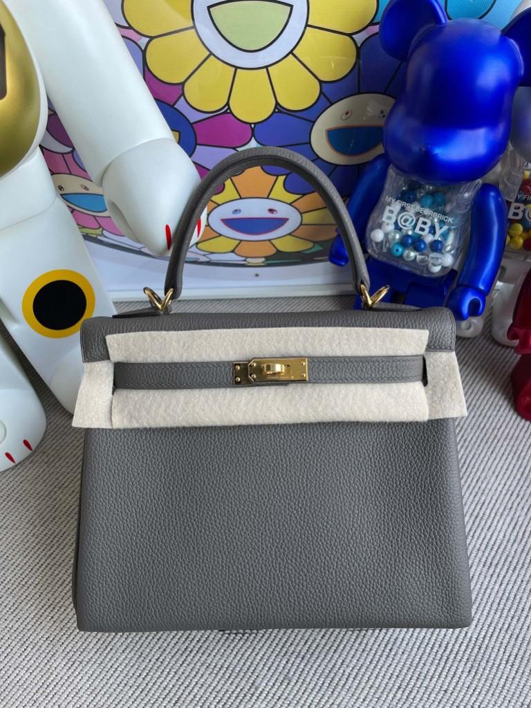 Hermès(爱马仕)Kelly 凯莉包 原厂小牛皮 togo 8F 锡器灰 etain 金扣 25cm 顶级手缝