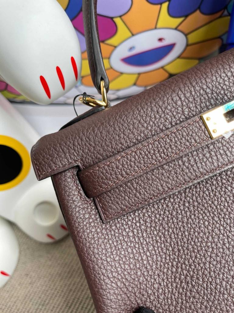 Hermès(爱马仕)Kelly 凯莉包 原厂小牛皮 togo 乌木色 金扣 25cm 顶级手缝