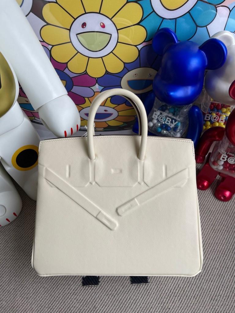 Hermès(爱马仕)Birkin Shadow 铂金包 8L 奶油白 25cm 顶级手缝 超美