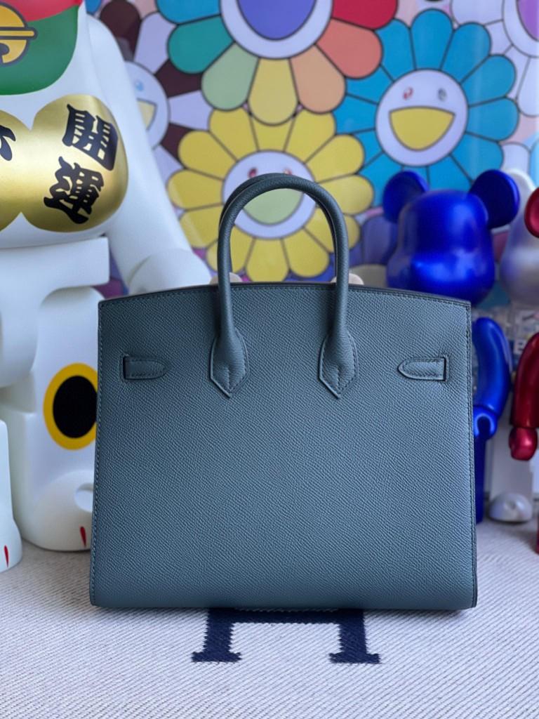 Hermès(爱马仕)Birkin 铂金包 Epsom 原厂掌纹皮灰 绿色 银扣 25cm 顶级手缝