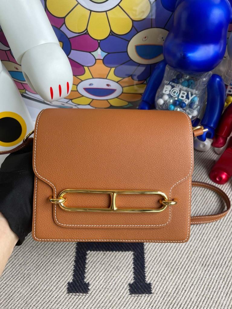 Hermès(爱马仕)Roulis 猪鼻包 Evecolor ck37 金棕色 gold 金扣 18cm 顶级手缝