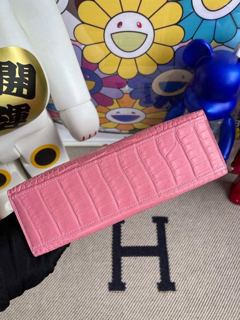 Hermès(爱马仕)mini kelly pochette Alligator matt 雾面鳄鱼 5p 樱花粉 金扣 22cm 手拿包 晚宴包