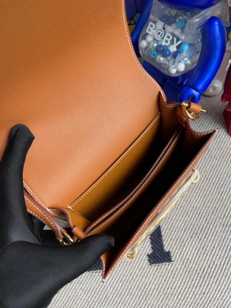 Hermès(爱马仕)Roulis 猪鼻子 Evecolor 金棕色 Gold 金扣 18cm 定制
