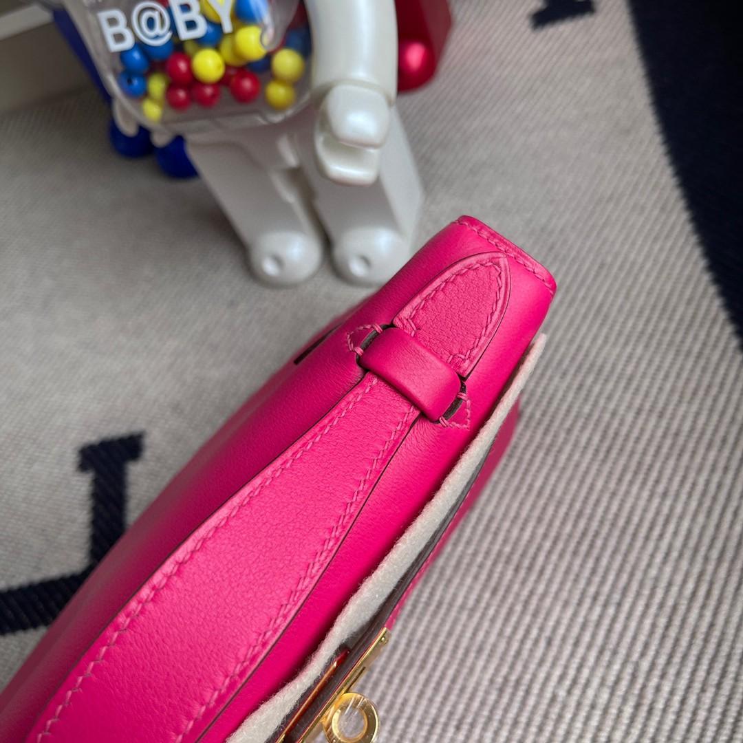 Hermès(爱马仕)最新色 Mini kelly pochette 墨西哥粉 Rose mexico Swift 金扣 22cm