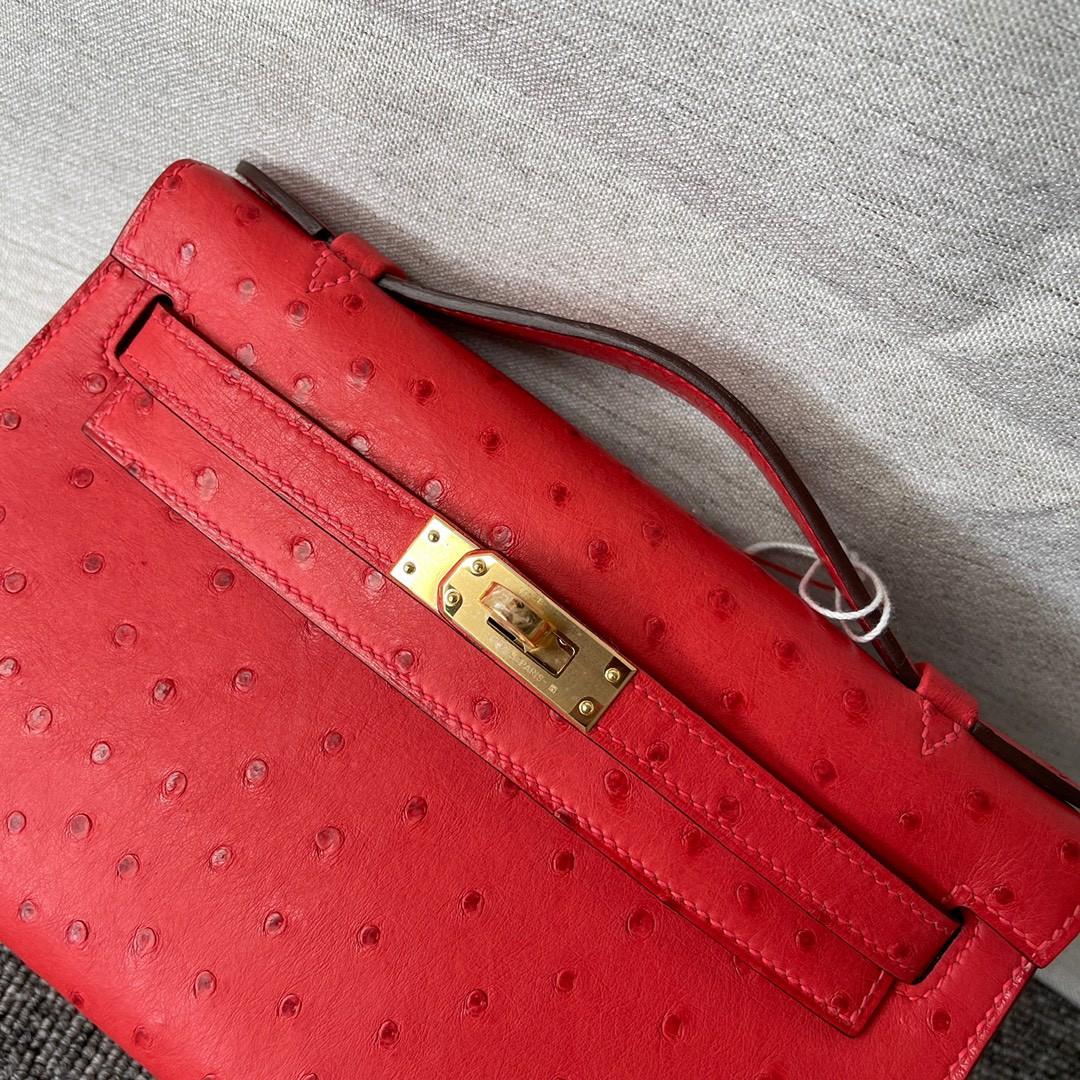 Hermès(爱马仕)Mini kelly pochette Q5 国旗红 鸵鸟皮 金扣 22cm 顶级手缝 手拿包 晚宴包