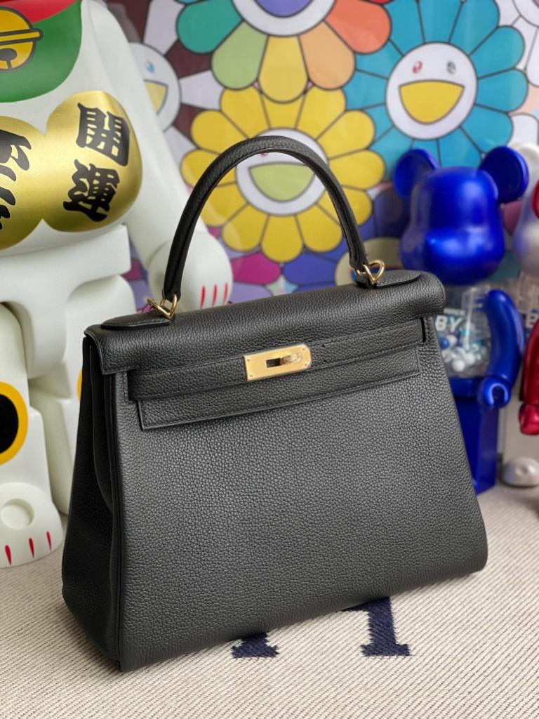 Hermès(爱马仕)Kelly 凯莉包 原厂小牛皮 Togo ck89 黑色 Noir 金扣 28cm 顶级手缝