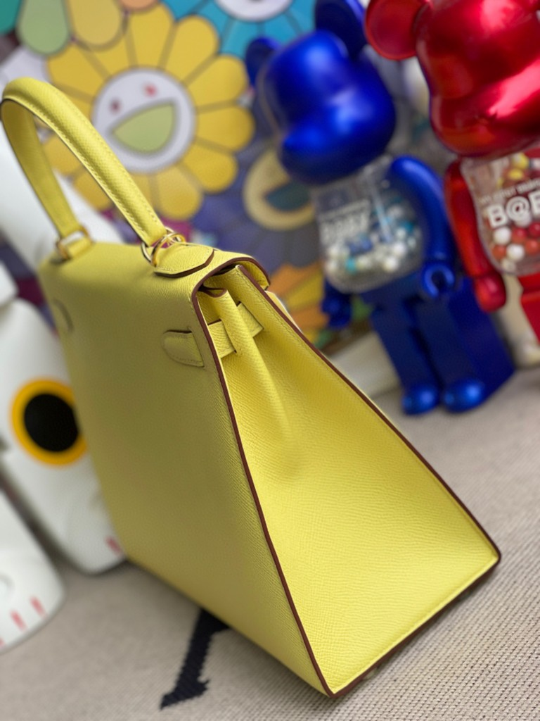 Hermès(爱马仕)Kelly 凯莉包 Epsom 原厂掌纹皮 9R 柠檬黄 Lime 金扣 28cm 顶级手缝