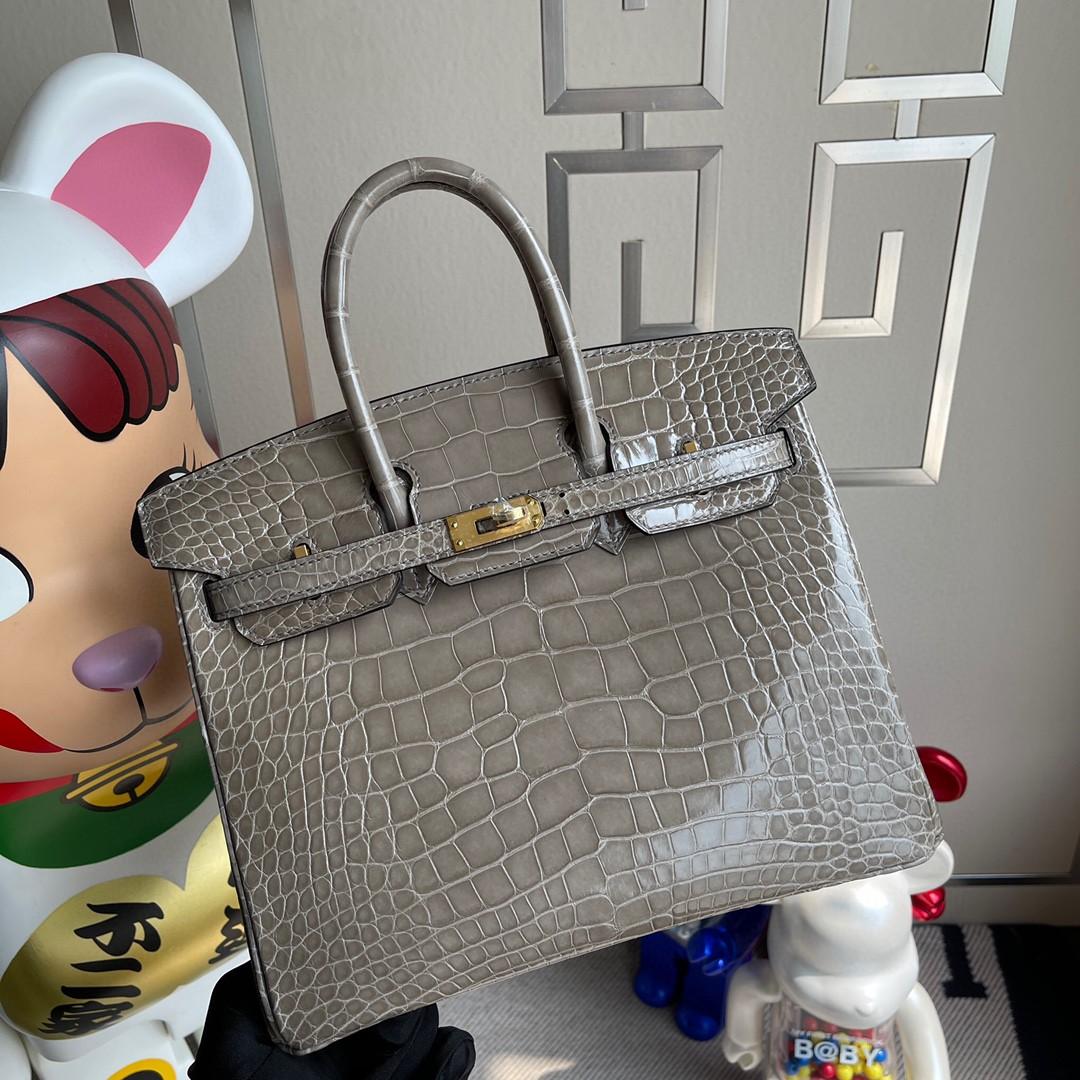 Hermès(爱马仕)Birkin 铂金包 Alligator shiny 亮面鳄鱼 ck81 斑鸠灰 金扣 25cm 顶级手缝