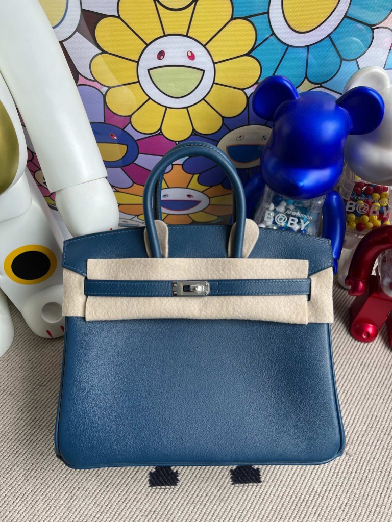 Hermès(爱马仕)Birkin 铂金包 Swift S4 深邃蓝 deep blue 银扣 25cm 顶级手缝