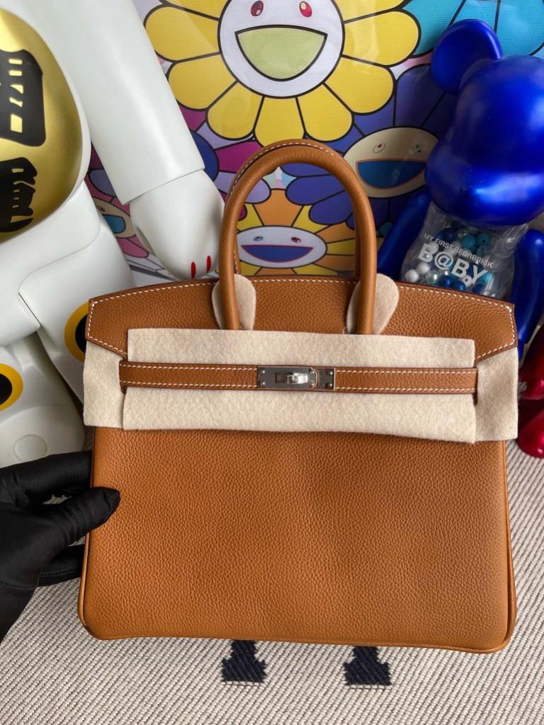 Hermès(爱马仕)Birkin 铂金包 福宝 金棕色 银扣 25cm 顶级手缝