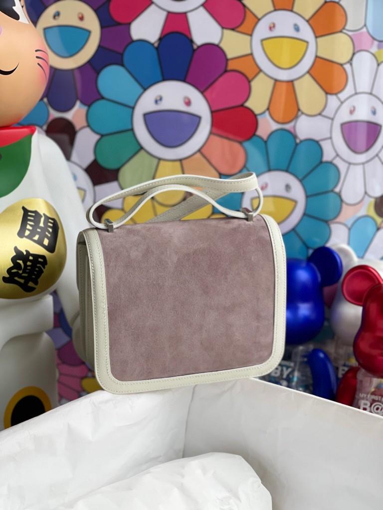 Hermès(爱马仕)Constance 空姐包 麂皮 swift 奶白 银扣 18cm 顶级手缝 定制