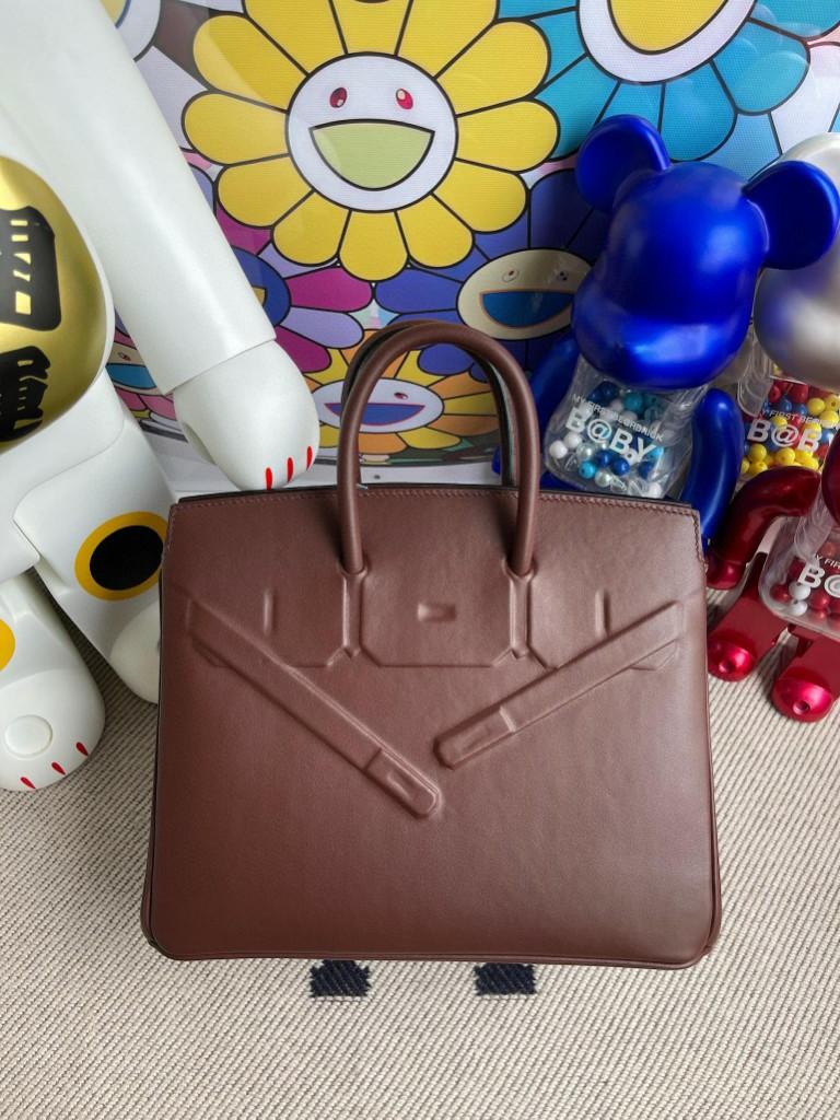 Hermès(爱马仕)Birkin 铂金包 Shadow 马鞍色 25cm 顶级手缝 超美