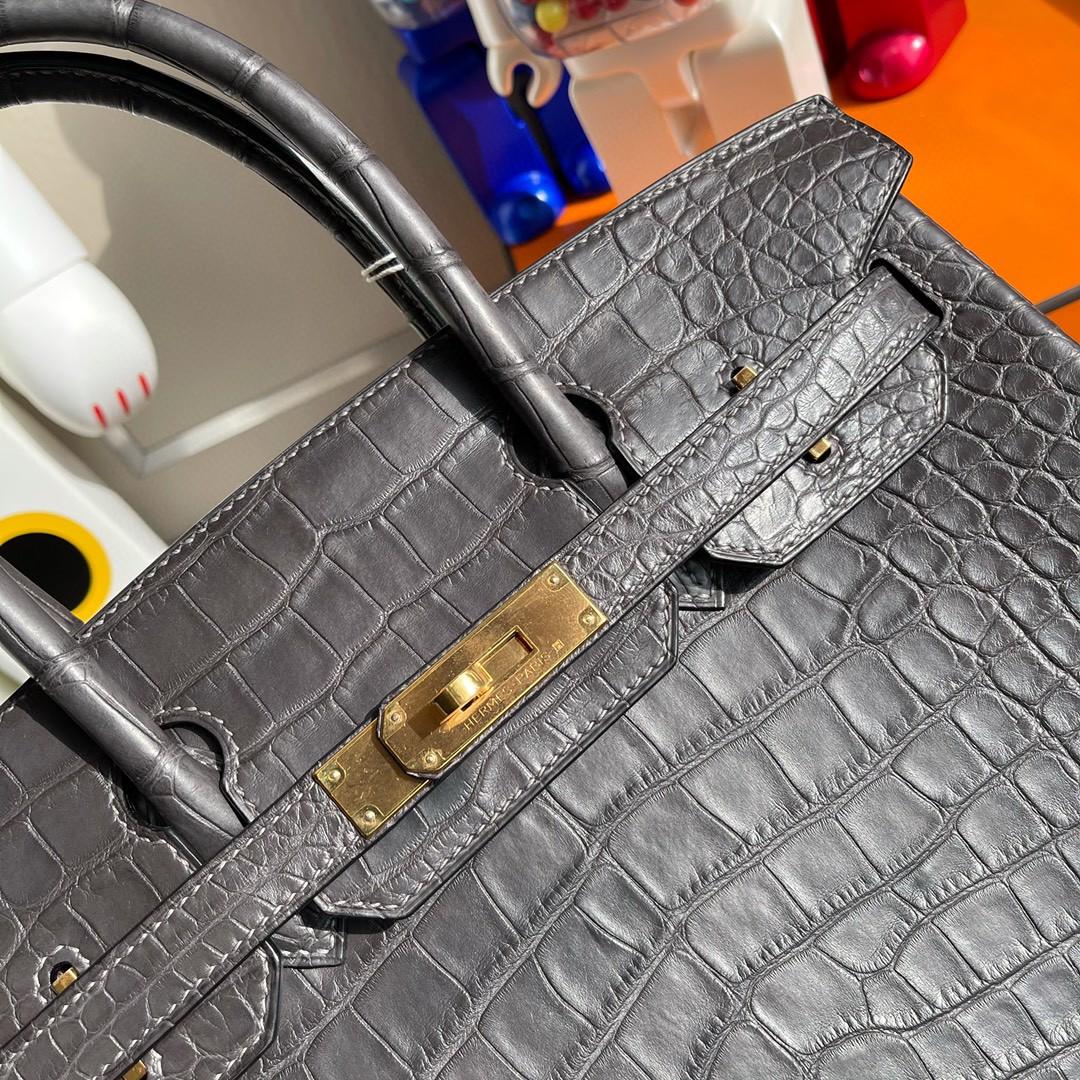 Hermès(爱马仕)Birkin 铂金包 alligator matt 雾面鳄鱼 ck88 石墨灰 金扣 30cm