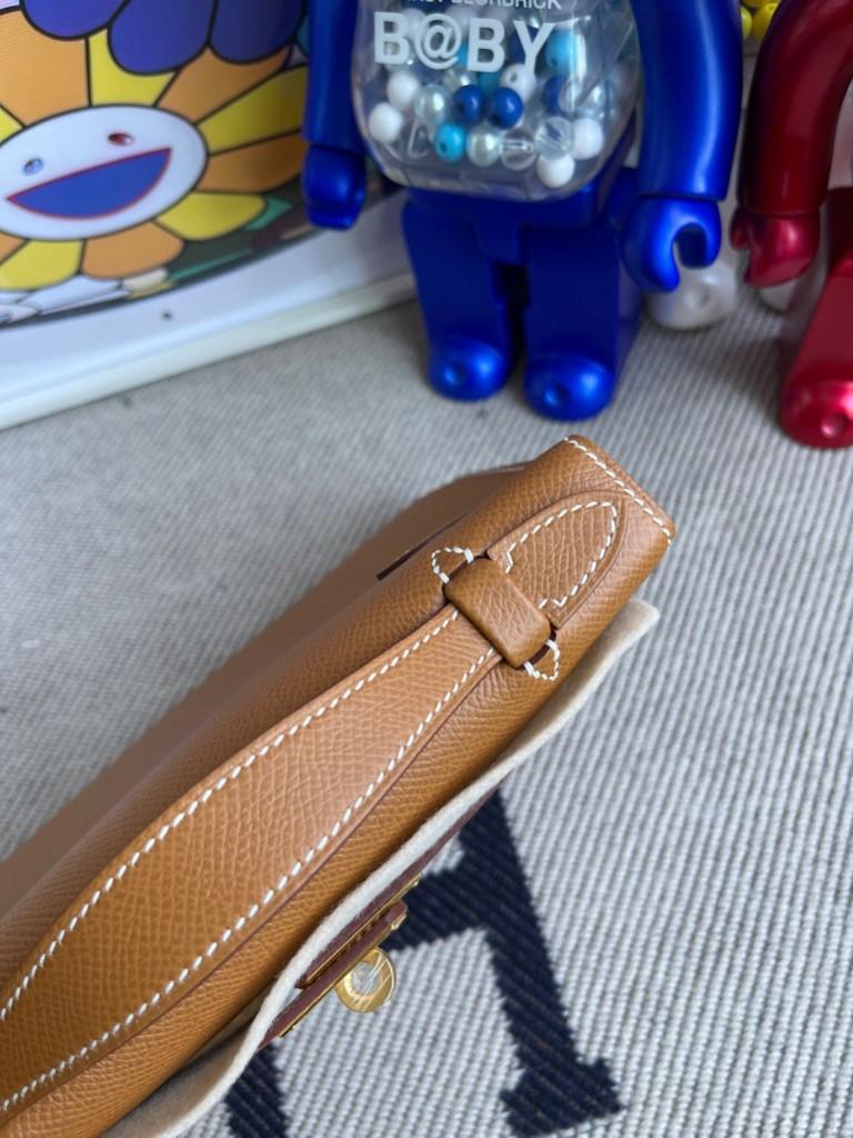 Hermès(爱马仕)Mini kelly pochette Epsom 原厂掌纹皮 ck37 金棕色 Gold 金扣 22cm 手拿包 晚宴包