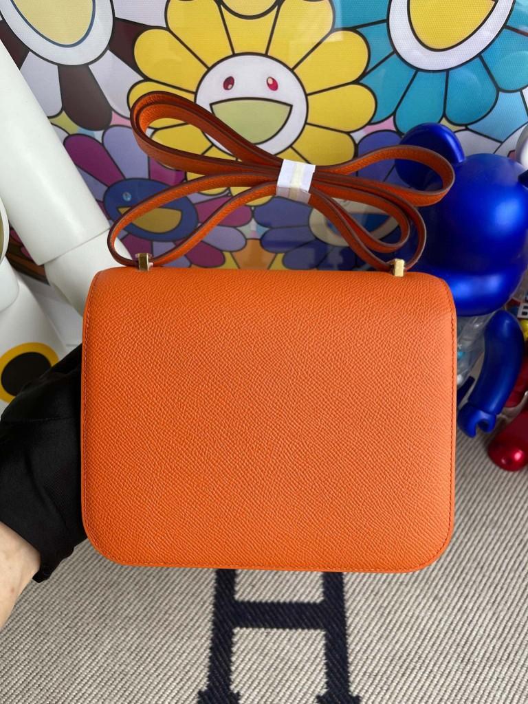 Hermès(爱马仕)Constance 空姐包 Epsom 原厂掌纹皮 93 橙色 Orange 金扣 18cm 顶级手缝