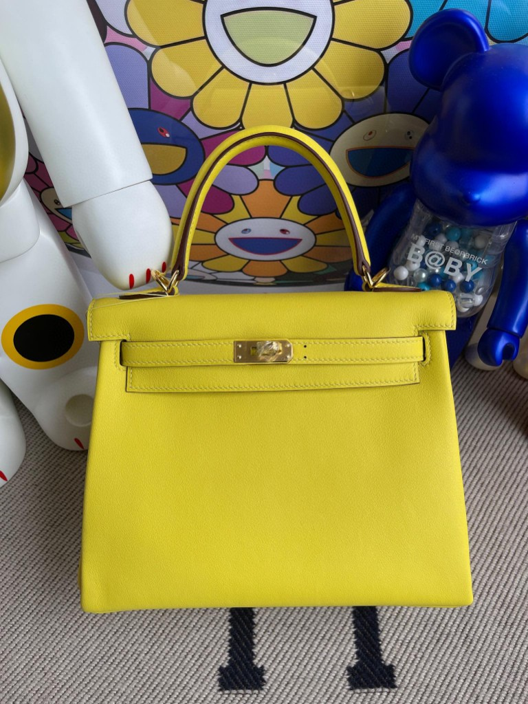 Hermès(爱马仕)Kelly 凯莉包 Swift 9R 柠檬黄 金扣 25cm 顶级手缝