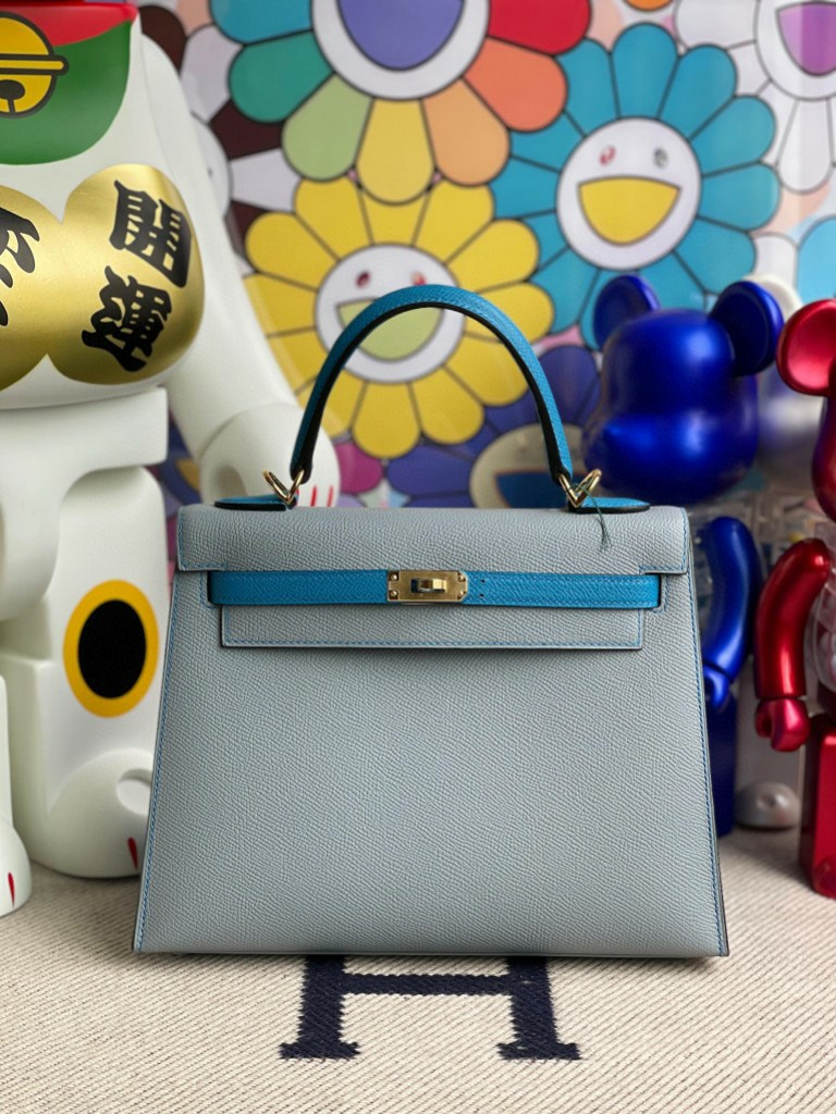 Hermès(爱马仕)Kelly 凯莉包 Epsom 原厂掌纹皮 亚麻蓝拼坦桑尼亚蓝 金扣 25cm 顶级手缝