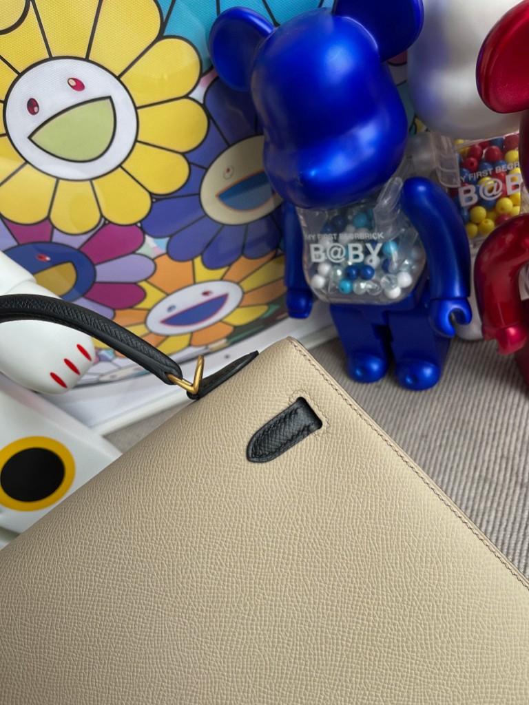 Hermès(爱马仕)Kelly 凯莉包 Epsom 原厂掌纹皮 S2 风衣灰 拼 ck89 黑色 磨砂金扣 马蹄印 25cm