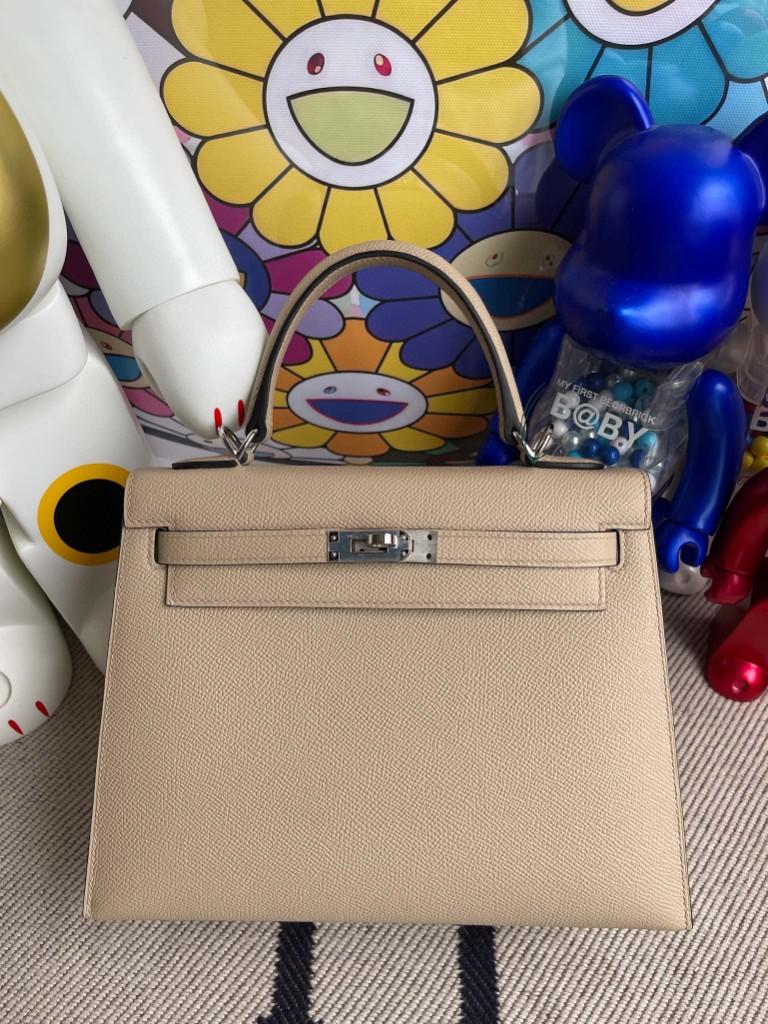 Hermès(爱马仕)Kelly 凯莉包 Epsom 原厂掌纹皮 S2 风衣灰 Trench 银扣 25cm 顶级手缝