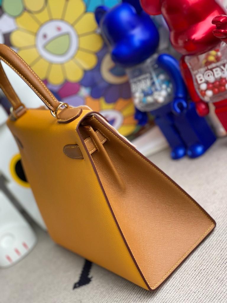 Hermès(爱马仕)Kelly 凯莉包 Epsom 原厂掌纹皮 9V 太阳黄 拼 金棕色 金扣 马蹄印 28cm 顶级手缝