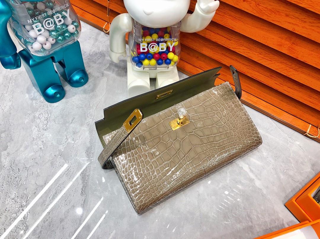 Hermès(爱马仕)Kelly wallet Alligator shiny 亮面鳄鱼 ck81 斑鸠灰 金扣 现货