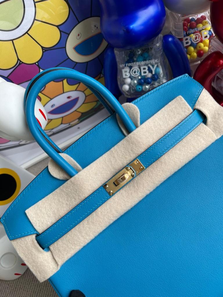 Hermès(爱马仕)Birkin 铂金包 Swift皮 0F 佛罗里达蓝 金扣 25cm 顶级手缝