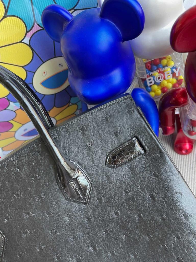 Hermès(爱马仕)Birkin Touch系列 Ostrich crocodile 黑色 银扣 30cm