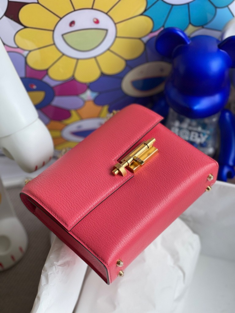 Hermès(爱马仕)Verrou 插销包 Chevre 山羊皮 8W 唇膏粉 rose azalee 金扣 17cm 顶级手缝 现货