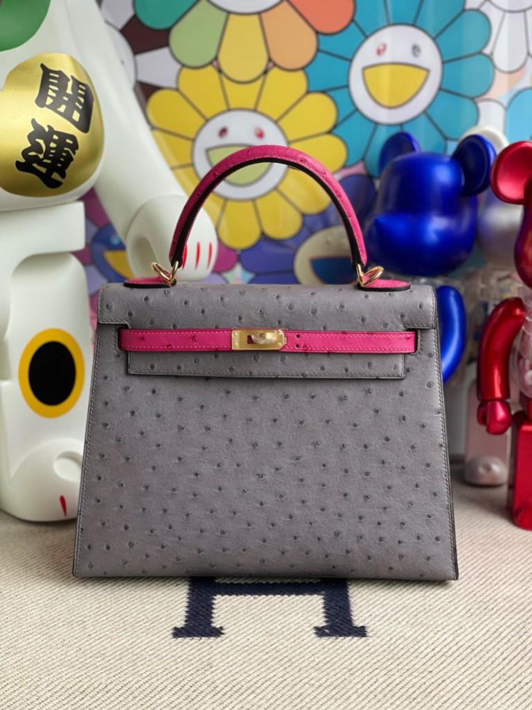 Hermès(爱马仕)Kelly 凯莉包 Ostrich kk鸵鸟 玛瑙灰拼桃粉 金扣 25cm 马蹄印 顶级手缝