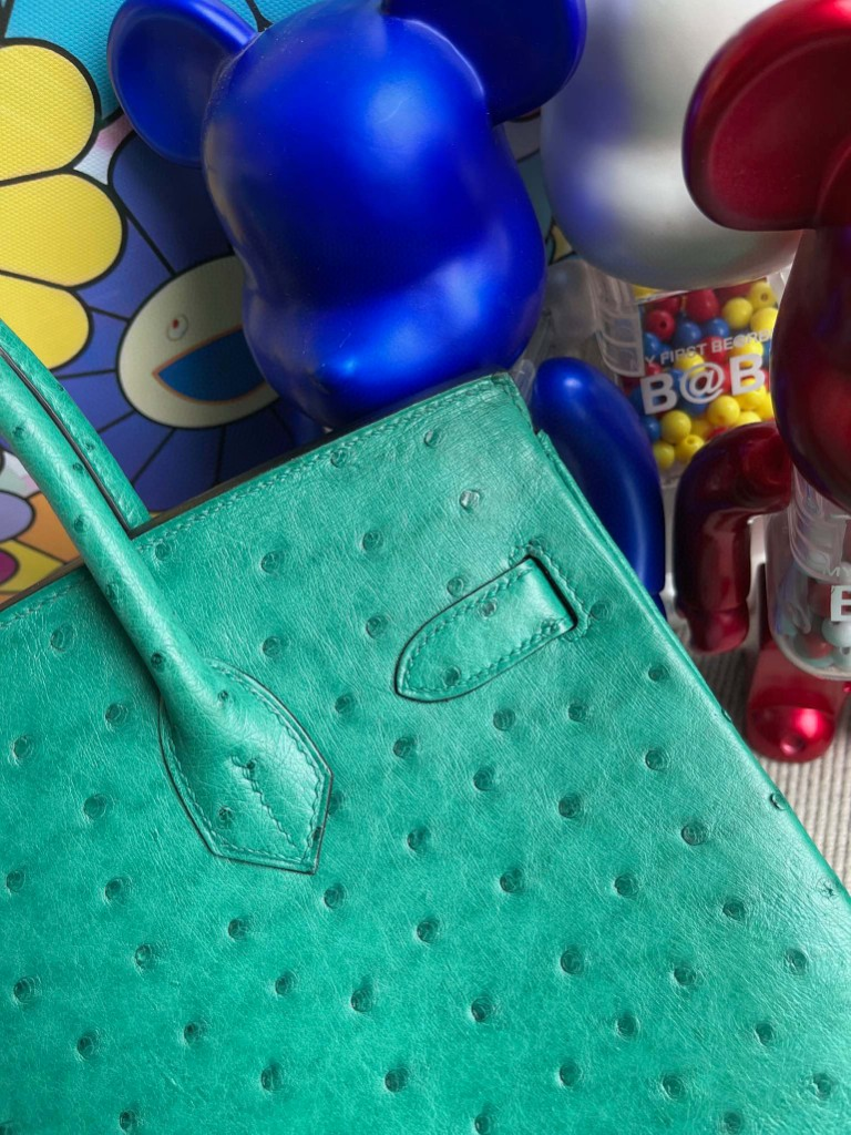 Hermès(爱马仕)Birkin 铂金包 Ostrich kk鸵鸟 U4 丝绒绿内拼唇膏粉 金扣 30cm 马蹄印 顶级手缝