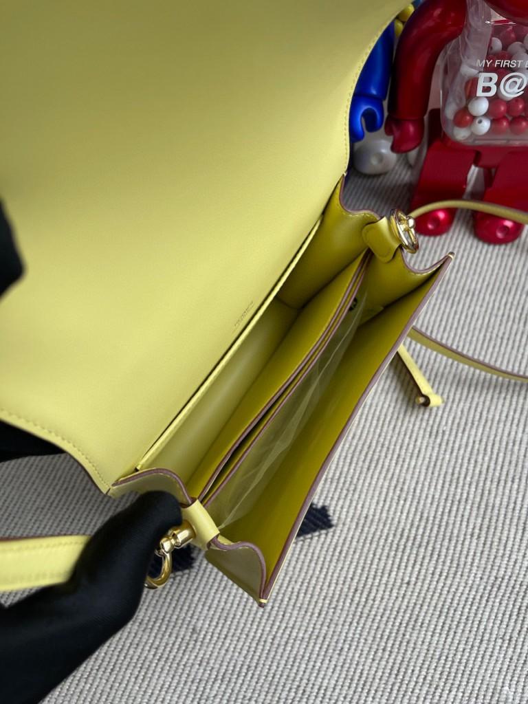 Hermès(爱马仕)Roulis 猪鼻包 Swift 小鸡黄 金扣 18cm 顶级手缝