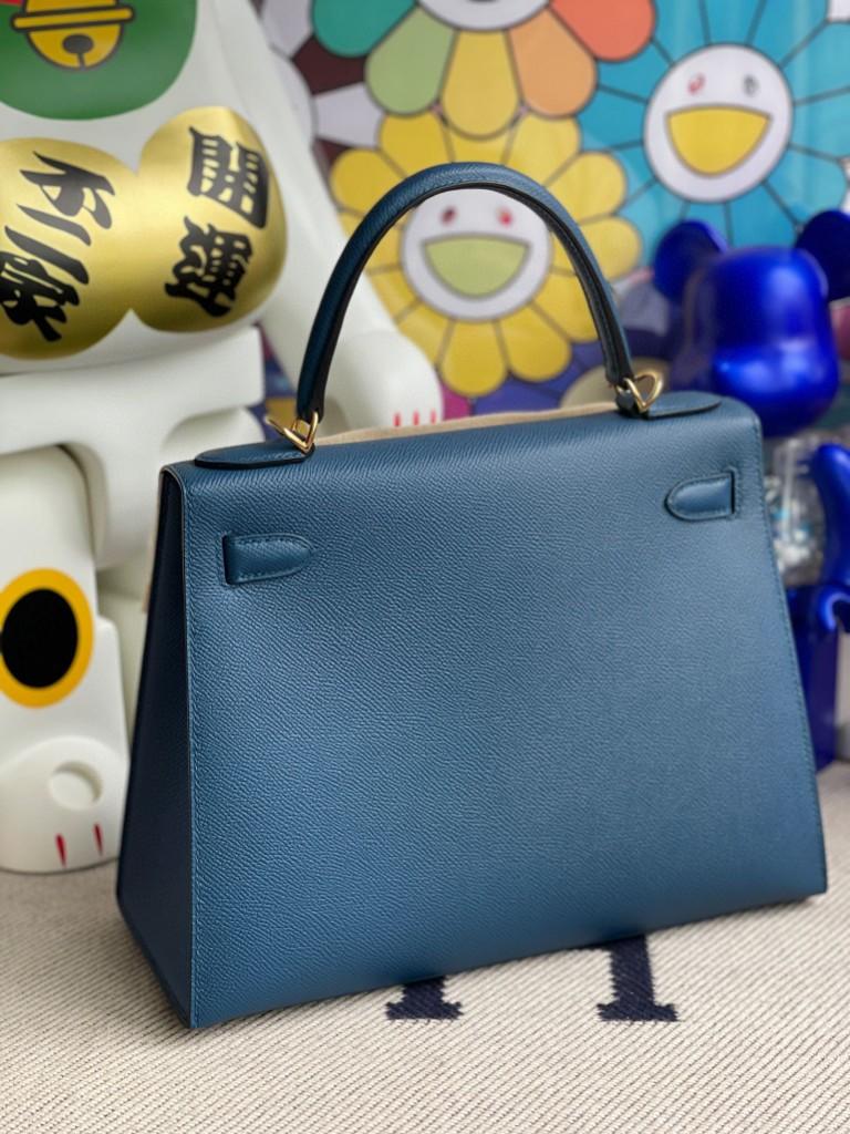 Hermès(爱马仕)Kelly 凯莉包 Epsom 原厂掌纹皮 S4 深邃蓝 deep blue 金扣 28cm 顶级手缝